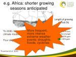 e g africa shorter growing seasons anticipated
