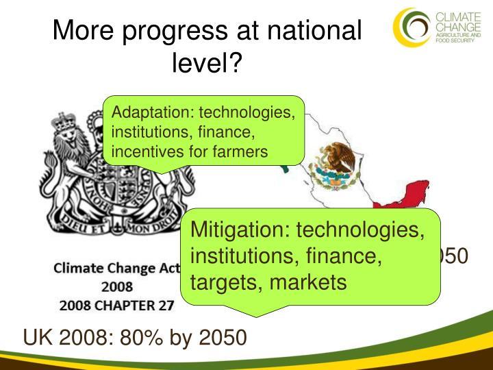 More progress at national level?