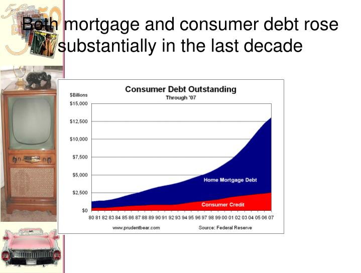 Both mortgage and consumer debt rose substantially in the last decade
