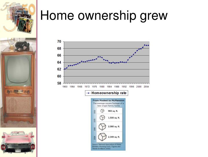 Home ownership grew