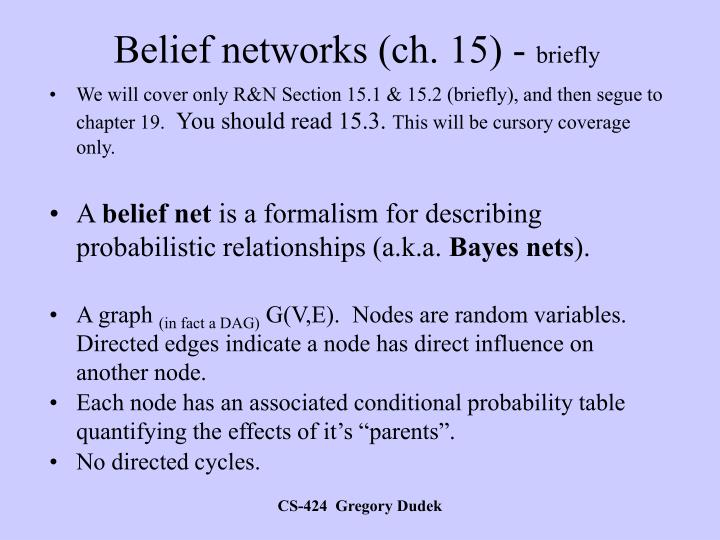 Belief networks (ch. 15) -