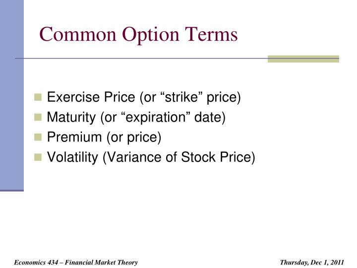 Common Option Terms
