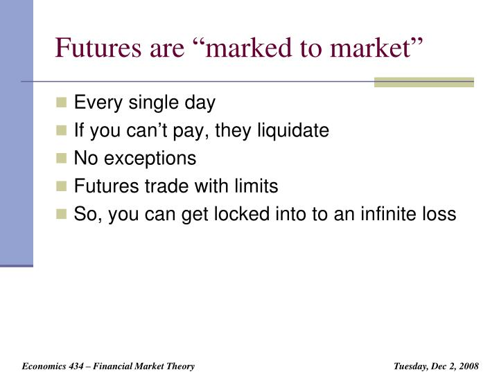 "Futures are ""marked to market"""