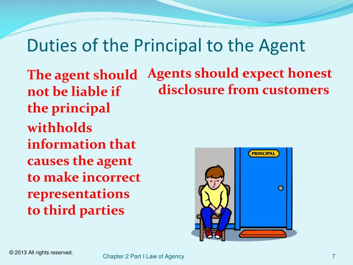 Duties of the Principal to the Agent