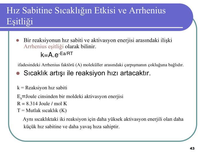 Hız Sabitine Sıcaklığın Etkisi ve Arrhenius Eşitliği