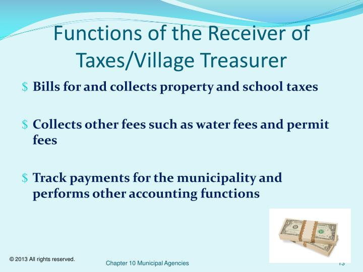 Functions of the Receiver of Taxes/Village Treasurer