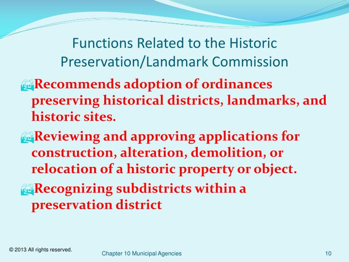 Functions Related to the Historic Preservation/Landmark Commission