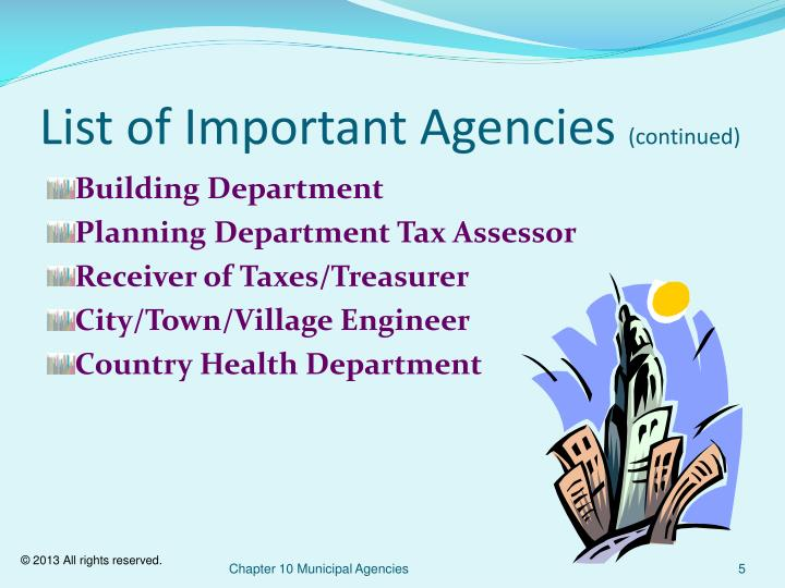 List of Important Agencies