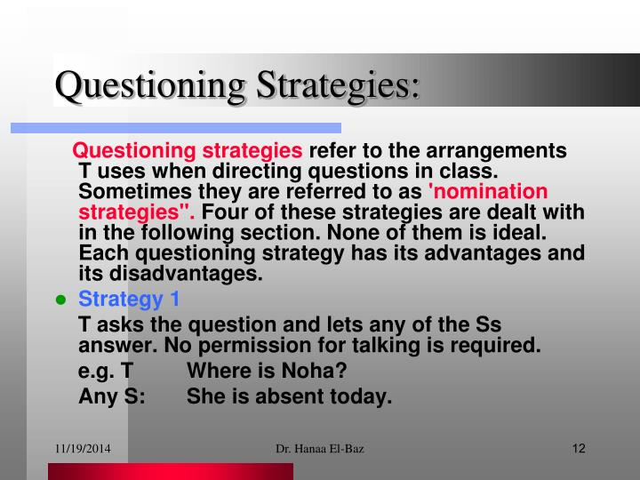 Questioning Strategies: