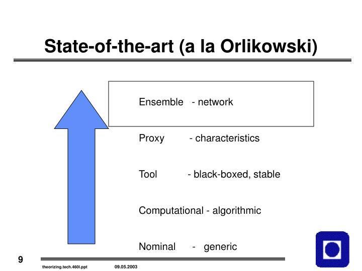State-of-the-art (a la Orlikowski)