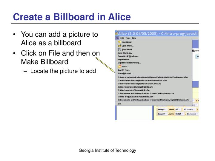 Create a Billboard in Alice