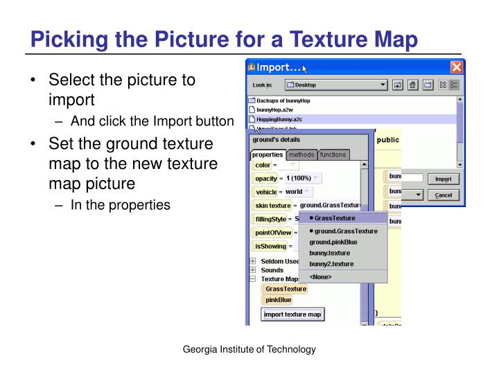 Picking the Picture for a Texture Map
