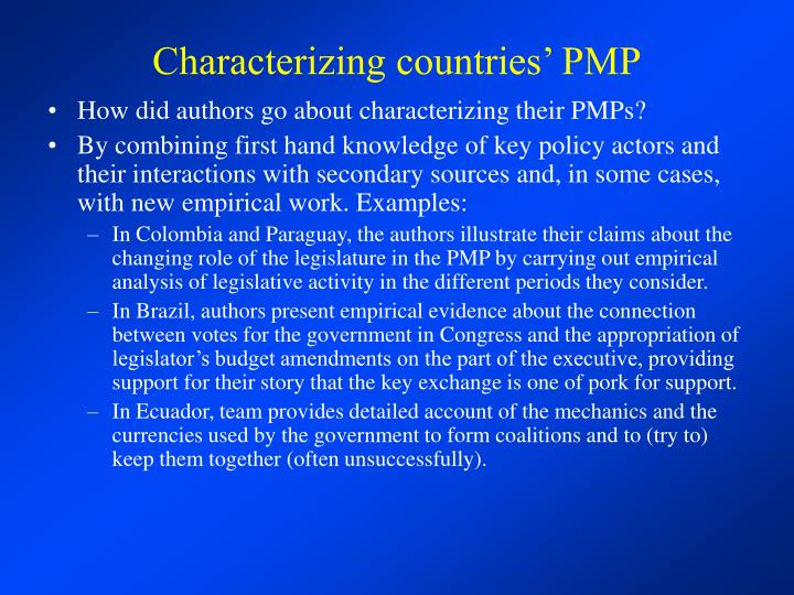 Characterizing countries' PMP