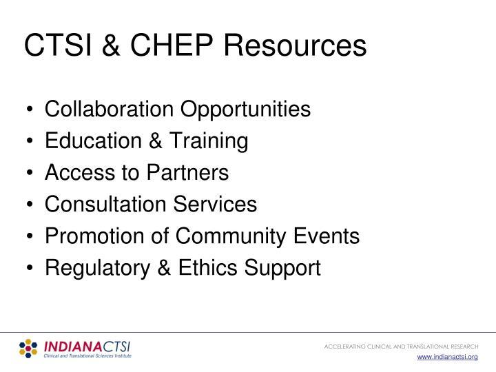 CTSI & CHEP Resources