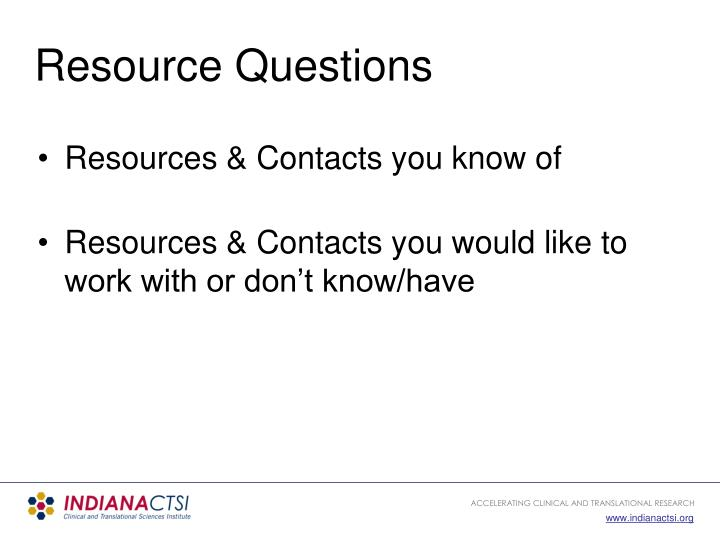 Resource Questions