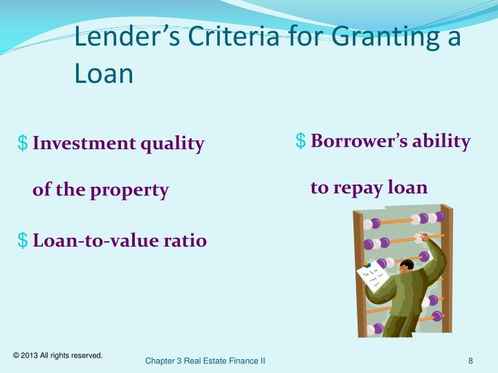Lender's Criteria for Granting a Loan