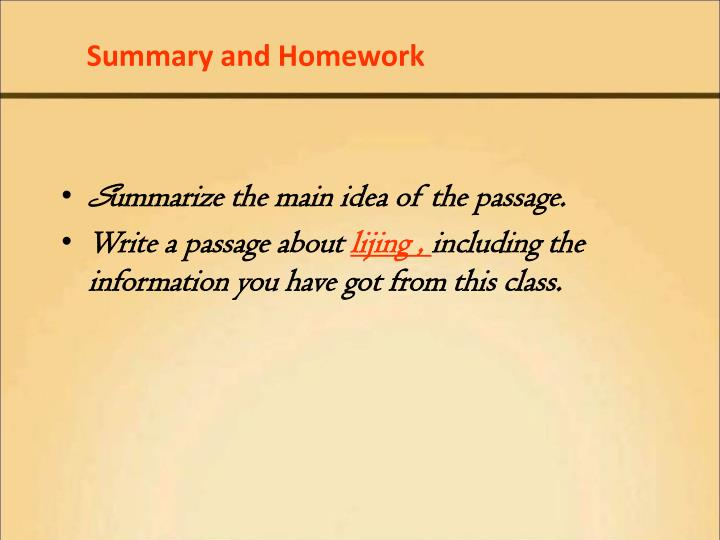 Summary and Homework
