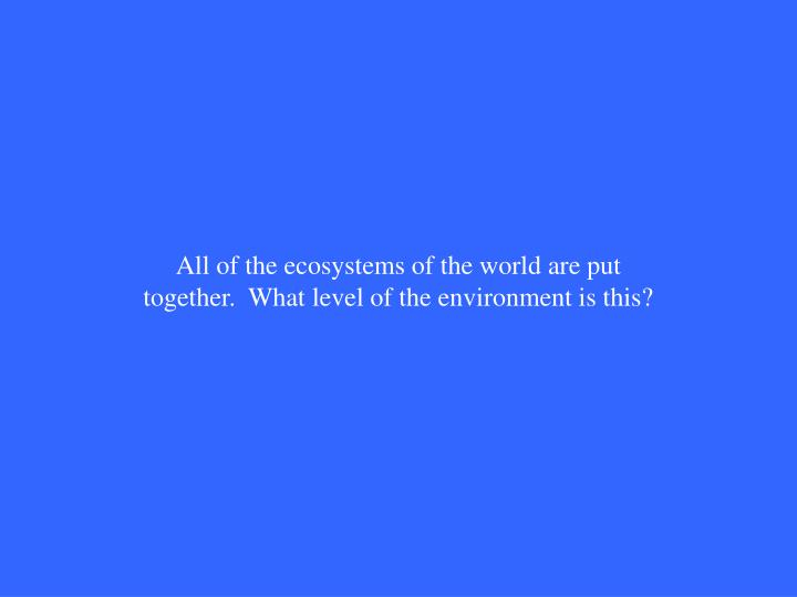 All of the ecosystems of the world are put together.  What level of the environment is this?