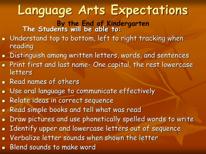 Language Arts Expectations