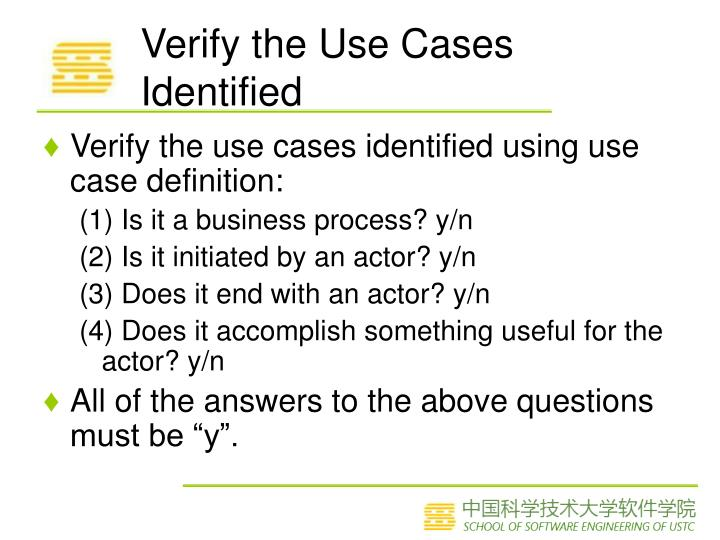 Verify the Use Cases Identified