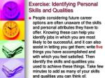 exercise identifying personal skills and qualities