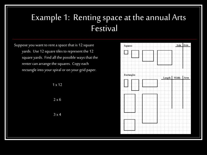 Example 1 renting space at the annual arts festival