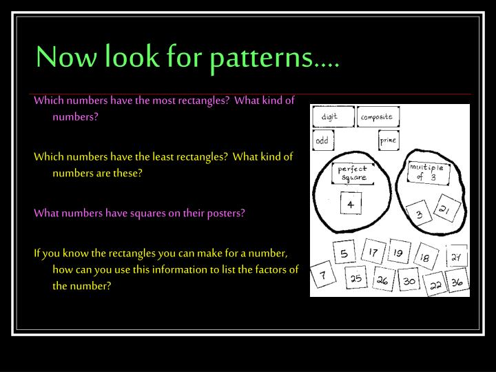 Now look for patterns….