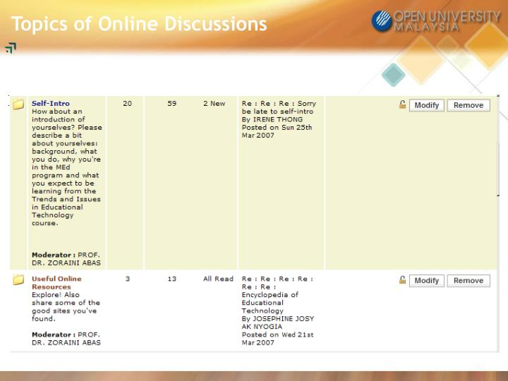 Topics of Online Discussions