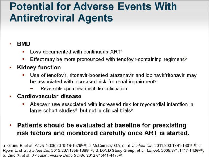 Potential for Adverse Events With Antiretroviral Agents