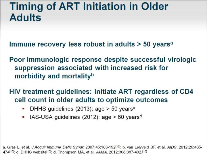 Timing of ART Initiation in Older Adults