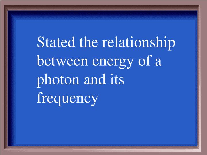 Stated the relationship between energy of a photon and its frequency