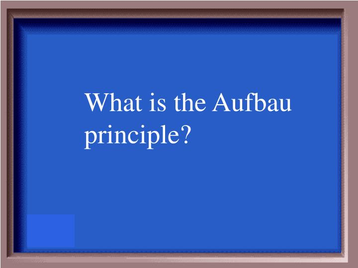 What is the Aufbau principle?
