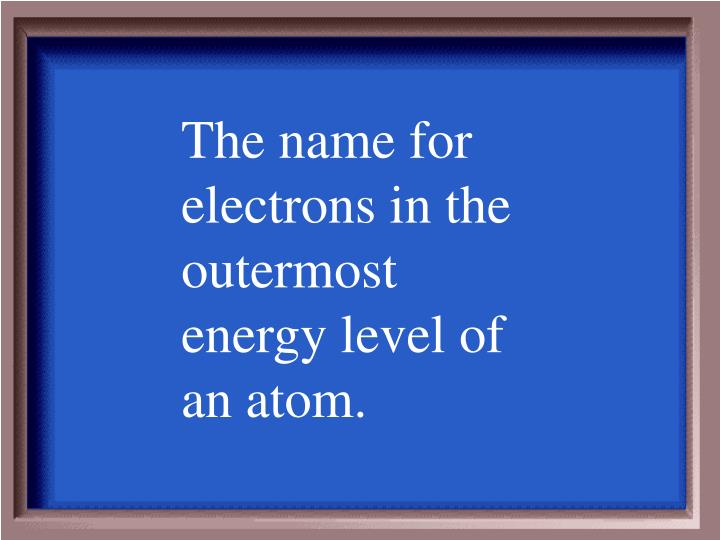 The name for electrons in the outermost energy level of an atom.