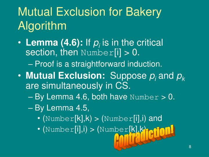Mutual Exclusion for Bakery Algorithm