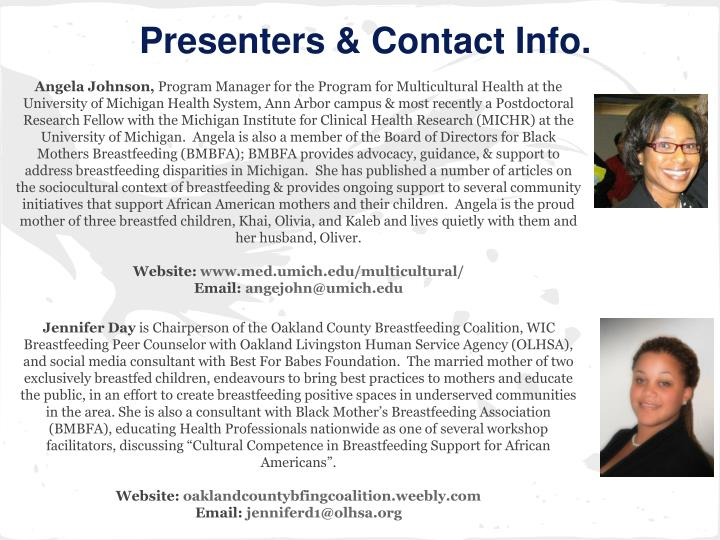 Presenters & Contact Info.