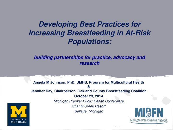 Developing Best Practices for Increasing Breastfeeding in At-Risk Populations:
