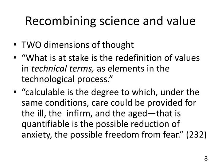 Recombining science and value
