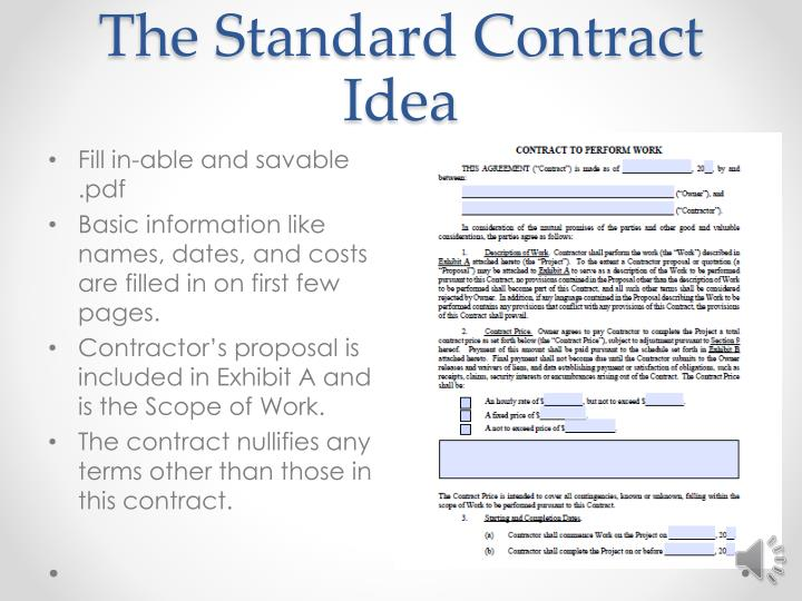 The Standard Contract Idea
