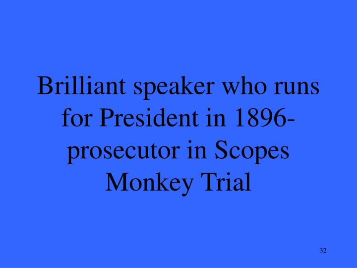 Brilliant speaker who runs for President in 1896-prosecutor in Scopes Monkey Trial
