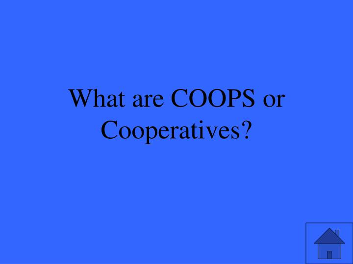 What are COOPS or Cooperatives?