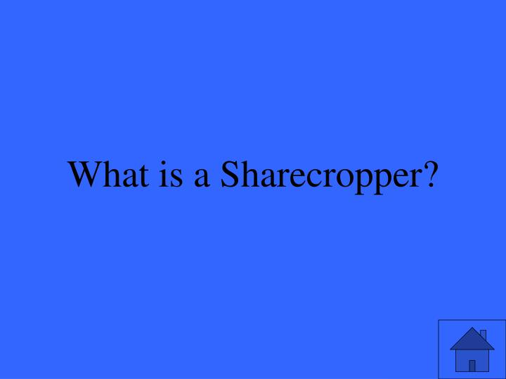 What is a Sharecropper?