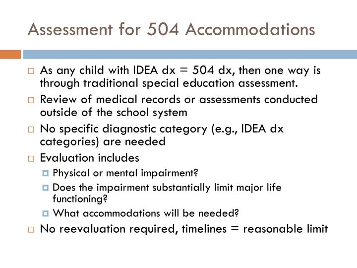Assessment for 504 Accommodations