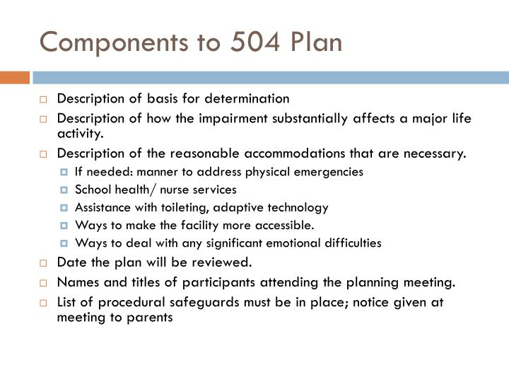 Components to 504 Plan