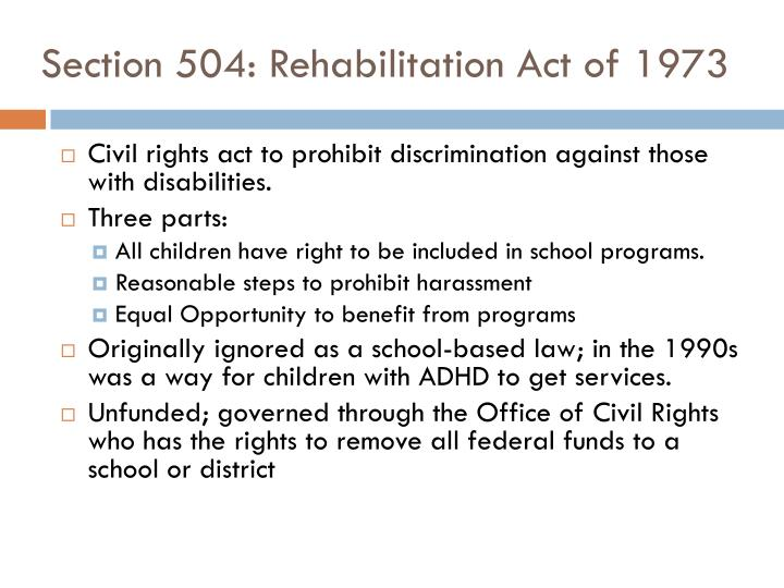 Section 504 rehabilitation act of 1973