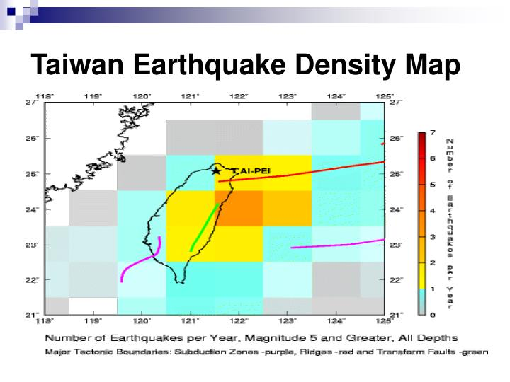 Taiwan Earthquake Density Map