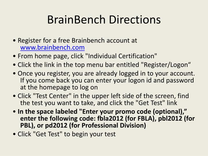 Brainbench directions
