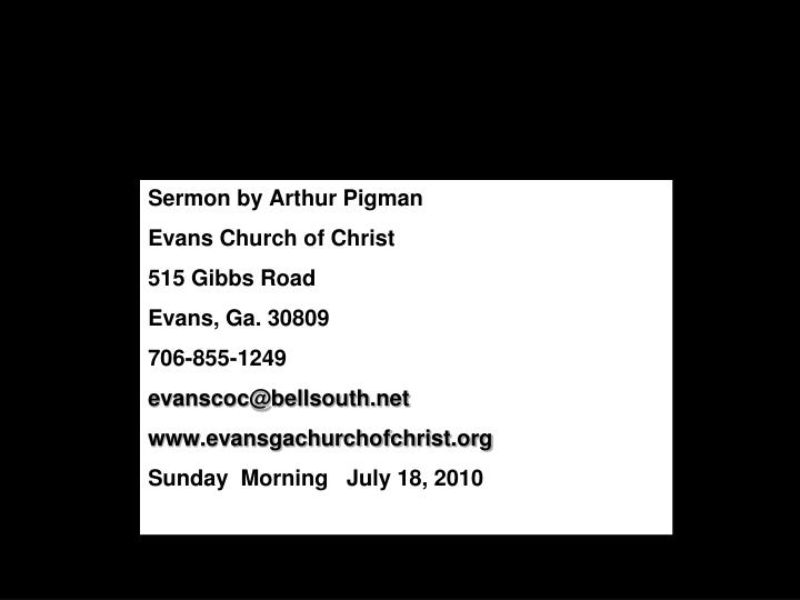 Sermon by Arthur Pigman