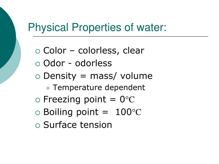 Physical Properties of water: