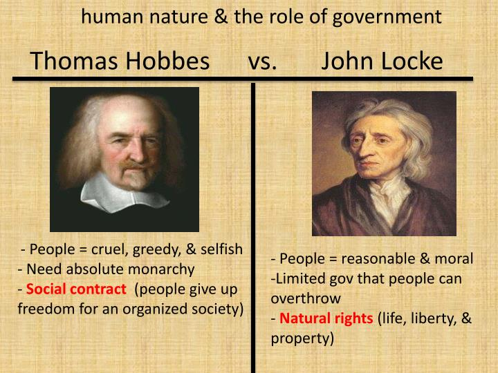 the different views between philosophers thomas hobbes and john locke Political philosophy of thomas hobbes and john locke locke had a different point of view for human comparison of thomas hobbes and john locke' political.
