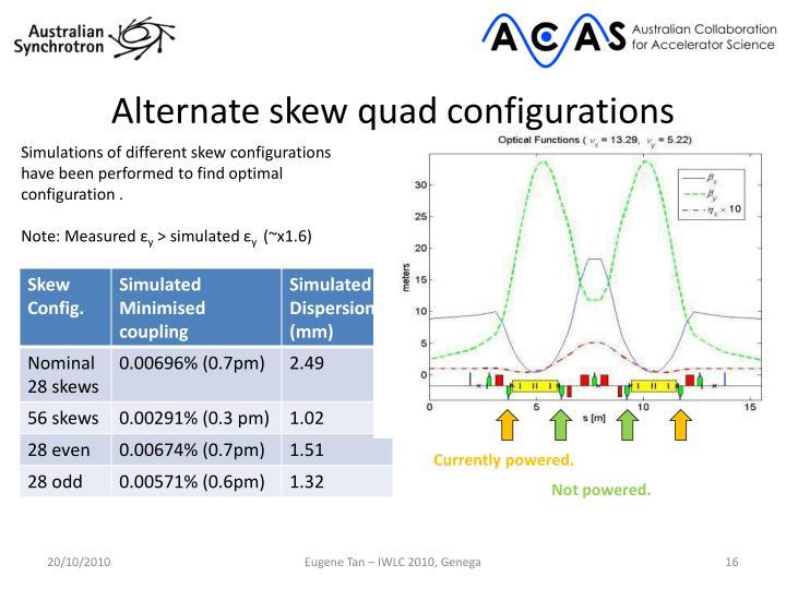 Alternate skew quad configurations